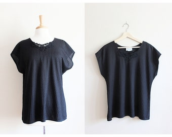 Vintage Lace Neckline Black Dolman Top