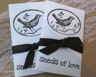 Wedding Favors - Wildflower Seeds - Seeds of Love - Hand Stamped packets - Bird on a Branch