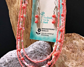 Gemstone and Seed Bead necklace set, Gift for her, Beaded necklace set, 3 strand necklace, Handmade necklace, Women's Jewelry