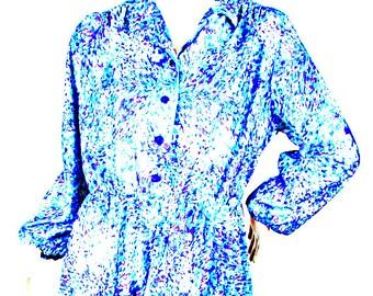 Vintage woman dress 70's fantasy floral light sea