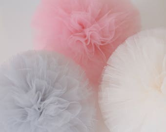 "Tulle / tutu pom poms / Large  12"" /30cm  - custom colors - wedding party decor - Party Decoration /Tutu /baby shower"