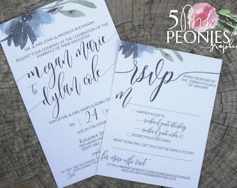 Watercolor Gray/Blue Flower Invitations - Wedding Invitations