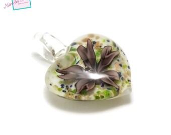 "1 gorgeous Lampwork Glass 8 ""flower"", purple white transparent pendant"