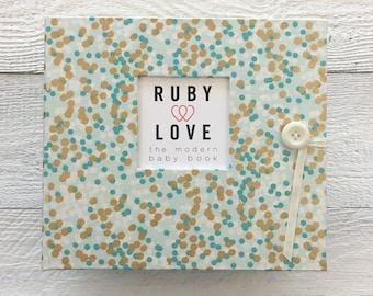 BABY BOOK | Mint and Gold Shimmer Album