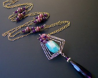 Art Deco Necklace with Pink Tourmalines, Amethyst and cool blue Amazonite, Lavaliere, Gift for Her, February Birthday