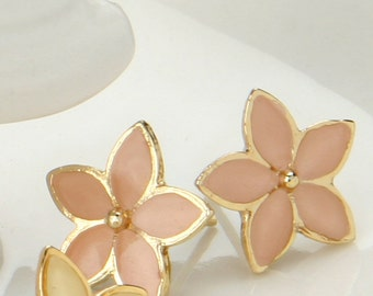 Bridesmaids jewelry- gold earrings- bridesmaids gift- dainty earrings- flowers enamel earrings- blush wedding
