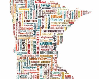 Minnesota State Map Color Typography Map Poster Print Text Map
