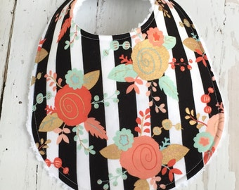 Baby Bib for Girl  - Single Bib - Triple Layer Chenille  - Metallic Gold, Mint, Coral - BLACK & GOLD FLORAL