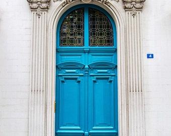 Paris Doors, Paris Print, Door Photography, Paris Teal Turquoise Blue Door Photograph, Ornate Paris Door, Cottage Chic Paris Decor