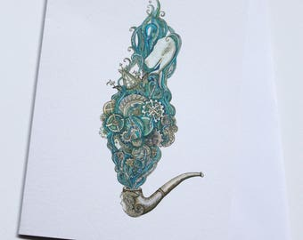 Handmade mermaid pipe greeting card. Blank card. Hand drawn card