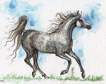 Ausführung grau arabische Stute, equine Kunst, Pferd Malerei, Pferdesport, Tinte und Weatercolor original-Kunst