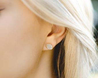 raw crystal studs | raw quartz earrings | april birthstone studs | april birthstone earrings | white druzy earrings | druzy stud earrings
