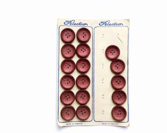 Antique Burgundy Buttons, Wine, Red, French Card