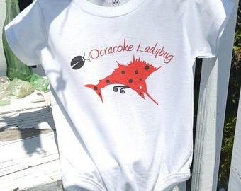 Ocracoke Ladybug hand printed Onesie infant creeper sizes 6 or 12 months fishing gift baby
