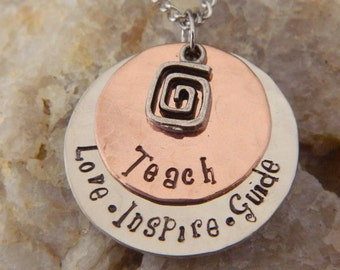 Teachers Love Inspire and Guide Copper Handstamped Necklace
