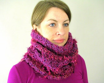 Crocheted Pink Chunky Cowl Scarf - Mixed Berry Fizz Loop Scarf for Women