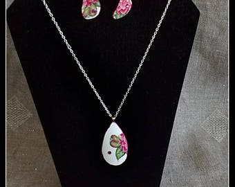 Handmade peony broken china pendant and dangle earrings