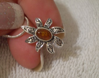 """Baltic Amber (Natural) 925 Antiqued Sterling Silver Necklace 18"""""""