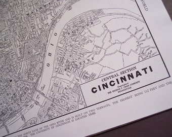 1947 Cincinnati Ohio City Map, vintage street map for wall art, Travel Poster / Black and White Map
