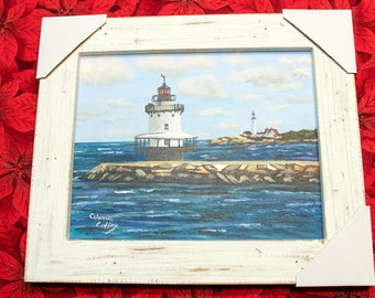 Framed Acrylic  Hand Painted Original of Bug Light with Portland Headlight in the Background,Beautiful Casco Bay Maine,Nautical Wall Hanging