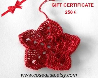 Valentine Gift card, Last minute gift, Christmas gift, Gift Certificate, voucher 250 Euro,  custom made gift, knitting gift, crochet gift