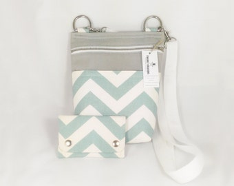 Aqua Chevron Crossbody Bags Stripe Crossbody Vegan Purse Vegan Crossbody Bag Everyday Womens Bag Small Bag Crossbody Aqua Blue purse Gray