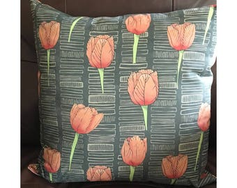 Black and Pink Tulip Pillow