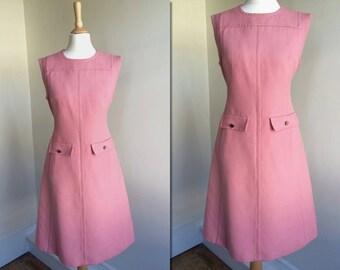 1960s Pink A-Line Wool Shift Dress * Size Medium