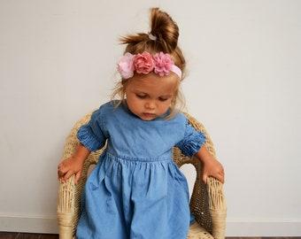 Headband enfant mariage bohème champêtre fleurs rose, headband demoiselle d'honneur cortège, headband bébé et petite fille fleurs baptême