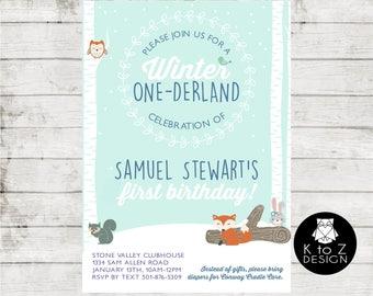 Winter ONEderland/Winter One-derland/Boy Winter One-derland Invitation/ Printable Invitation / Printed Invitations