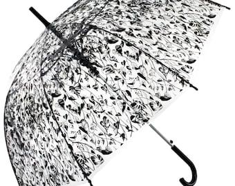 Heart Leaf Transparent Straight Umbrella