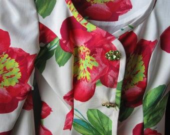 BILL BLASS RED Palazzo Pantsuit Silk Chiffon Size 6