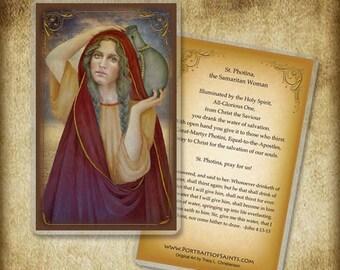 St. Photina, the Samaritan woman Holy Card or wood Magnet  #0287