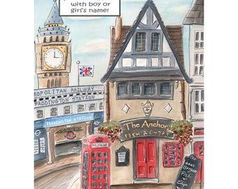 "London Baby Paddington Bear Theme, London Girl London Boy Personalized Fish& Chips Shop Custom Name, 6 Sizes 5x7 to 24x36"" Poster, Red Blue"