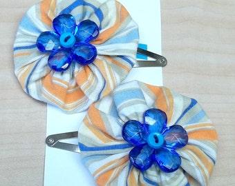 Striped orange/blue yoyo flower hair clip,striped orange/blue yoyo hair clip,orange/blue yoyo hair clip,yoyo hair clip flower hair clip