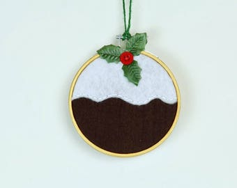 Christmas Pudding Embroidery Hoop - Christmas decoration figgy pudding holly pud felt sewing embroidered wall hanging decor Christmas gift