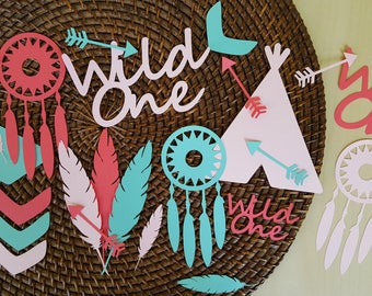 Wild One Confetti / 75 Jumbo Pieces / Coral, Baby Pink And Mint / Wild One Birthday Girl / Wild One Birthday / Wild One Decorations