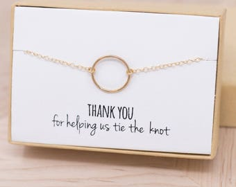 Gold Eternity Bracelet - Gold Hammered Eternity Circle Bracelet - Wedding Thank You Gift - Gold Circle Bracelet - Circle Jewelry