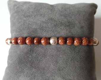 Bracelet perles façon gold stone