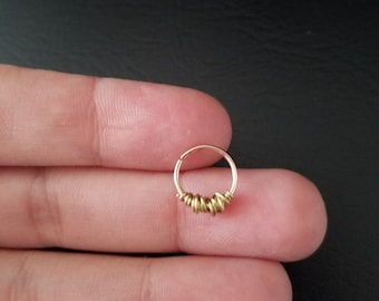 14k Rose Gold filled 20g Seamless with 14k gold Wire Wrapped Gold 8mm 10mm 11mm 12mm 13mm Septum Daith Cartilage Conch Nose Ring Earring