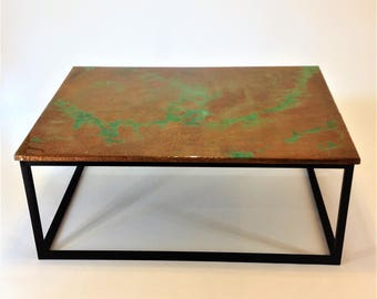 Hammered Copper with Green Patina Coffee Table, Epoxy Finish Decor Table