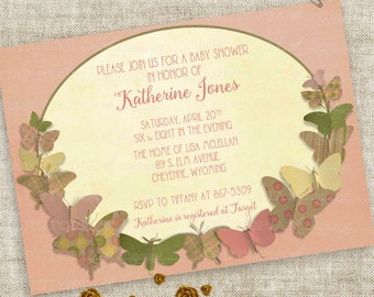 Rustic Baby Shower Invitation with Butterflies in Soft Pink and Green Personalized Custom Digital Printable File with Professional Printing