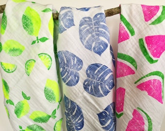 Set of 3 Baby blankets, Watermelon, Lemons, Leaves, handprinted, tropical swaddle blanket, baby shower gift idea, tropical theme baby shower