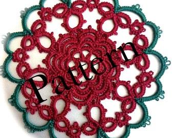 PDF Tatting Pattern - Christmas Rose Motif or Ornament