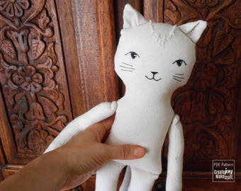 """18"""" Cat Doll Sewing Pattern and Tutorial - Dress up, Girl, Boy, Toy, DIY, Cloth, Fabric, Cotton, Play, Sew, Gift, Step by step"""