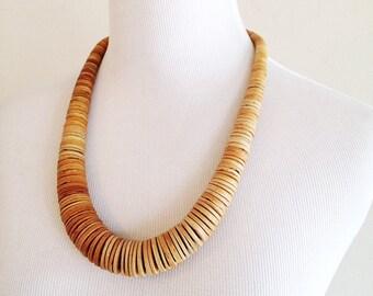 Vintage Gradation Wood Tribal Necklace