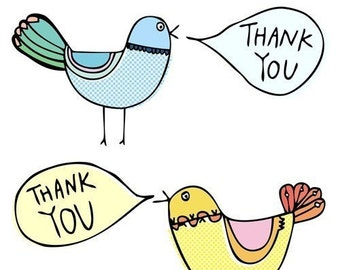 Thank you card - Birds