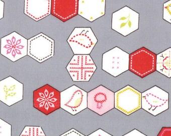 Sew Stitchy Hexagons Fabric by Aneela Hoey for Moda Fabrics 18542 15 Needle (Gray) - 1/2 yard