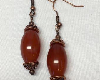 Red Carnelian Copper Earrings