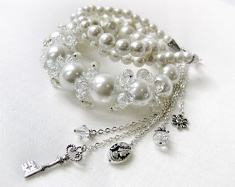 Large White Pearl Necklace Vintage Chunky Lucite Beads Clear Glass Beaded Cluster Front with Long Chain of Charms Handmade Jewelry Canada